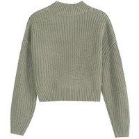Girls Khaki Pointelle Knit Jumper New Look