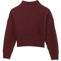 Girls Burgundy Pointelle Knit Jumper New Look