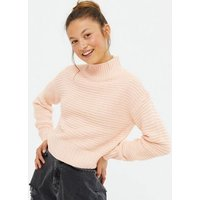 Girls Pale Pink Ribbed Knit High Neck Jumper New Look