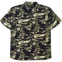 Men's Plus Size Black Camo Leaf Short Sleeve Shirt New Look