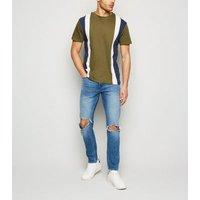 Men's Bellfield Khaki Contrast Stripe T-Shirt New Look