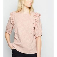 Pale Pink Floral Jacquard Frill Trim T-Shirt New Look