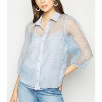 Pale Blue  Check Organza Puff Sleeve Shirt New Look