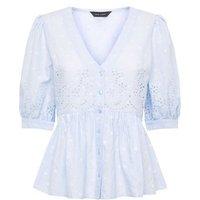 Pale Blue Broderie Puff Sleeve Peplum Blouse New Look