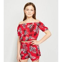 Girls Red Tropical Floral Bardot Top New Look