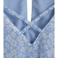 Girls Pale Blue Floral Lattice Top New Look