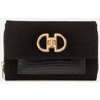 Black Suedette Faux Snake Panel Purse New Look