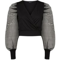Black Ribbed Organza Puff Sleeve Wrap Top New Look