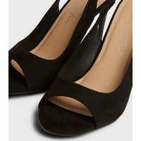 Black Slingback Peep Toe Stiletto Sandals New Look Vegan