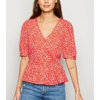 Red Ditsy Floral Wrap Peplum Top New Look