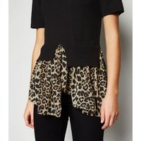 Black Leopard Print Hem 2-In-1 Top New Look
