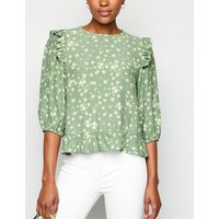 Green Ditsy Floral Print Peplum Top New Look