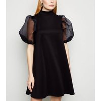 Influence Black Organza Puff Sleeve Swing Dress New Look