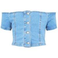 Girls Blue Denim Button Front Bardot Top New Look