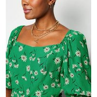 Green Daisy Puff Sleeve Square Neck Top New Look