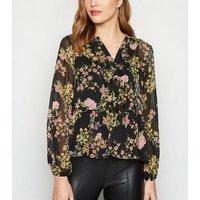 Black Floral Frill Chiffon Peplum Shirt New Look