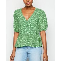 Green Ditsy Floral Button Front Top New Look