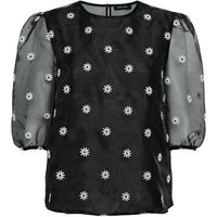 Black Floral Embroidered Organza Blouse New Look