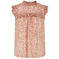 Pink Burnout Ditsy Floral Top New Look