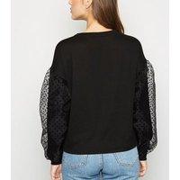 Black Fine Knit Organza Puff Sleeve Jumper New Look