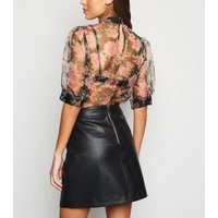 Black Leather-Look A-Line Mini Skirt New Look