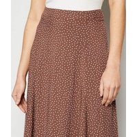 Brown Spot Circle Cut Midi Skirt New Look