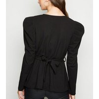 Cameo Rose Black Puff Sleeve Belted Top New Look