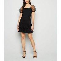 Black Tiered Ruffle Hem Mini Skirt New Look