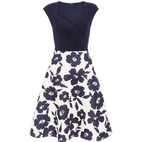 QUIZ Navy Floral Sweetheart Skater Dress New Look