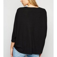 Black Fine Knit Ribbed Batwing Top New Look