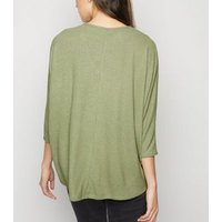 Khaki Fine Knit Ribbed Batwing Top New Look