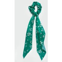 Green Floral Bow Scrunchie New Look