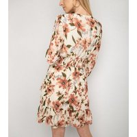 Gini London Off White Floral Shirred Waist Dress New Look