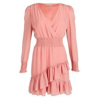 Gini London Pink Frill Shirred Waist Dress New Look