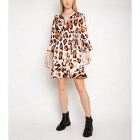 Gini London Cream Animal Print Frill Wrap Dress New Look