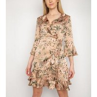 Gini Light Brown Floral Frill Wrap Dress New Look