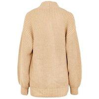Camel Puff Sleeve Long Knit Cardigan New Look