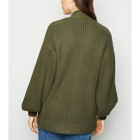Olive Puff Sleeve Long Knit Cardigan New Look