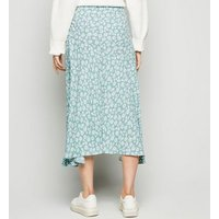 Blue Vanilla Pale Blue Floral Midi Skirt New Look