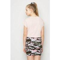 Girls Pink Camo Stripe Side Tube Skirt New Look