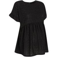Maternity Black Broderie Peplum Top New Look