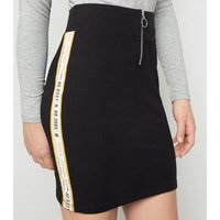 Girls Black USA Tape Slogan Tube Skirt New Look
