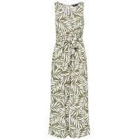 Green Leaf Print Tie Waist Jumpsuit New Look