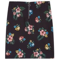 Girls Black Tropical Floral Print Skirt New Look