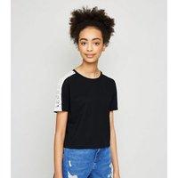 Girls Black Crochet Sleeve T-Shirt New Look