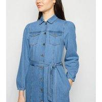 Blue Belted Denim Midi Dress New Look