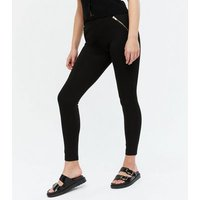 Black Zip Detail Leggings New Look