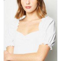 White Ribbed Poplin Puff Sleeve Bodysuit New Look