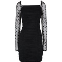 Black Spot Mesh Sleeve Ruched Dress New Look