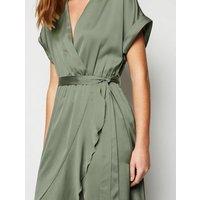 Khaki Satin Ruffle Trim Midi Wrap Dress New Look
